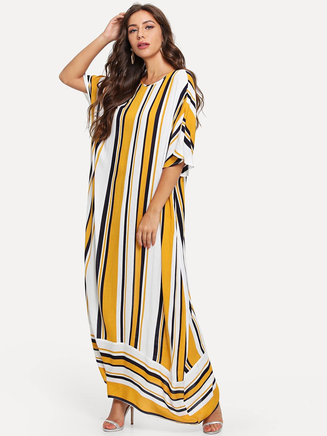 Striped Hijab Long Dress цена