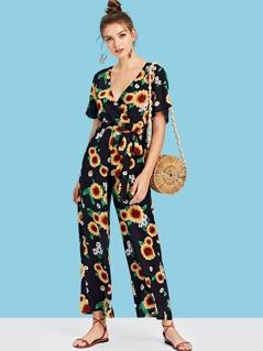 Waist Belted Wrap Sunflower Print Jumpsuit