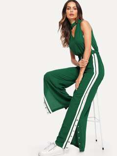 Studded Split Side Striped Shell Jumpsuit