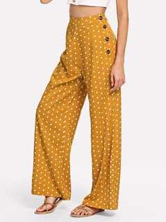 Side Button Polka Dot Wide Leg Pants