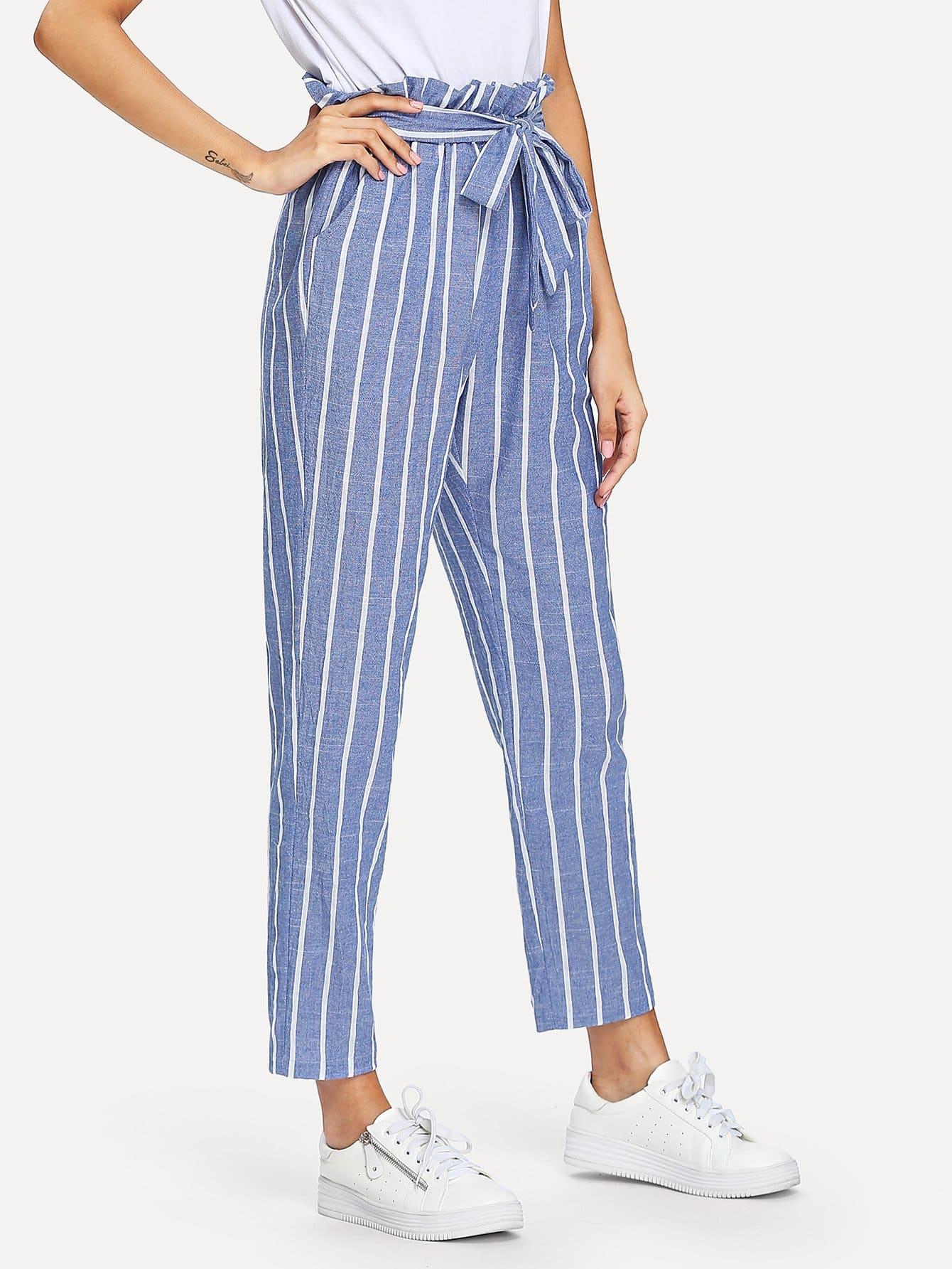 Купить Полосатые брюки с поясной талией, Gabi B, SheIn