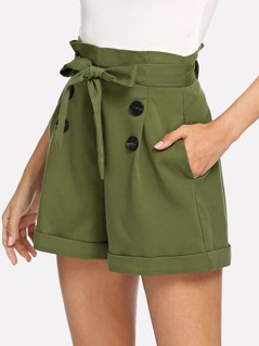 Belted Double Button Pleated Pocket Shorts