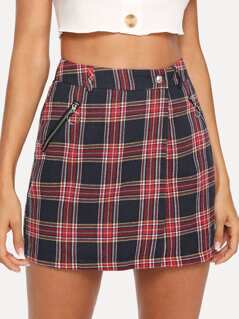 Zipper & Pocket Up Plaid Skirt