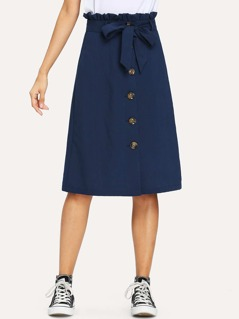 Button Front Belted Ruffle Skirt