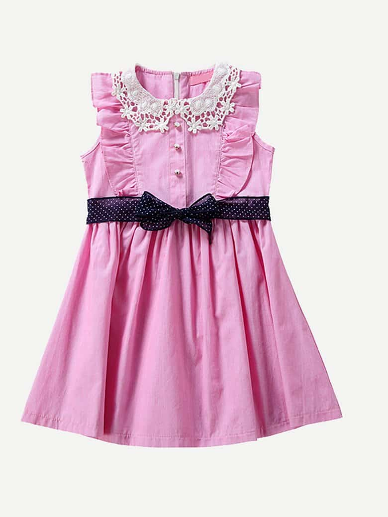 Kids Contrast Lace Frill Pleated Dress contrast collar lace applique pleated pinstripe dress