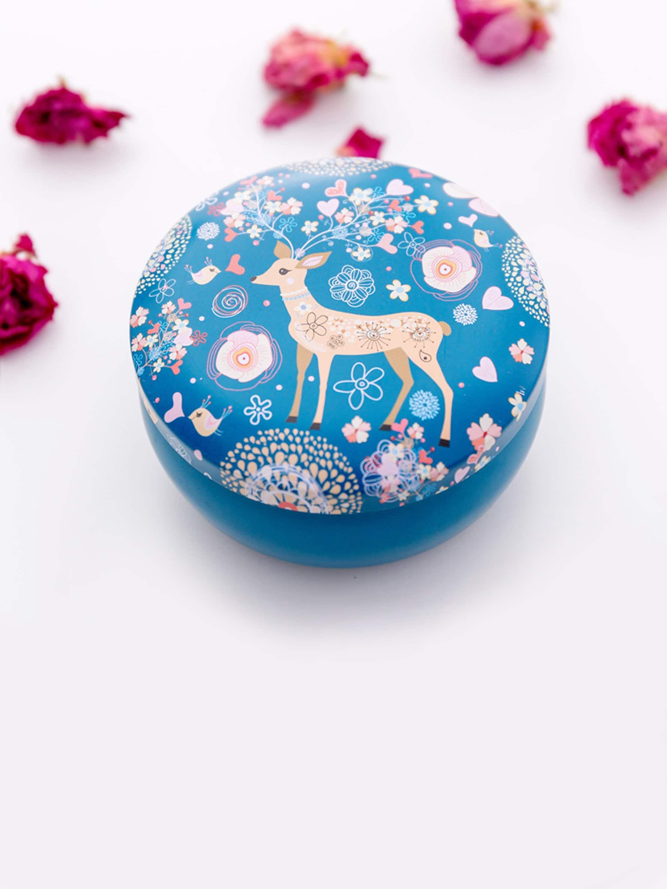 Elk Print Round Tin Box dog print tin box