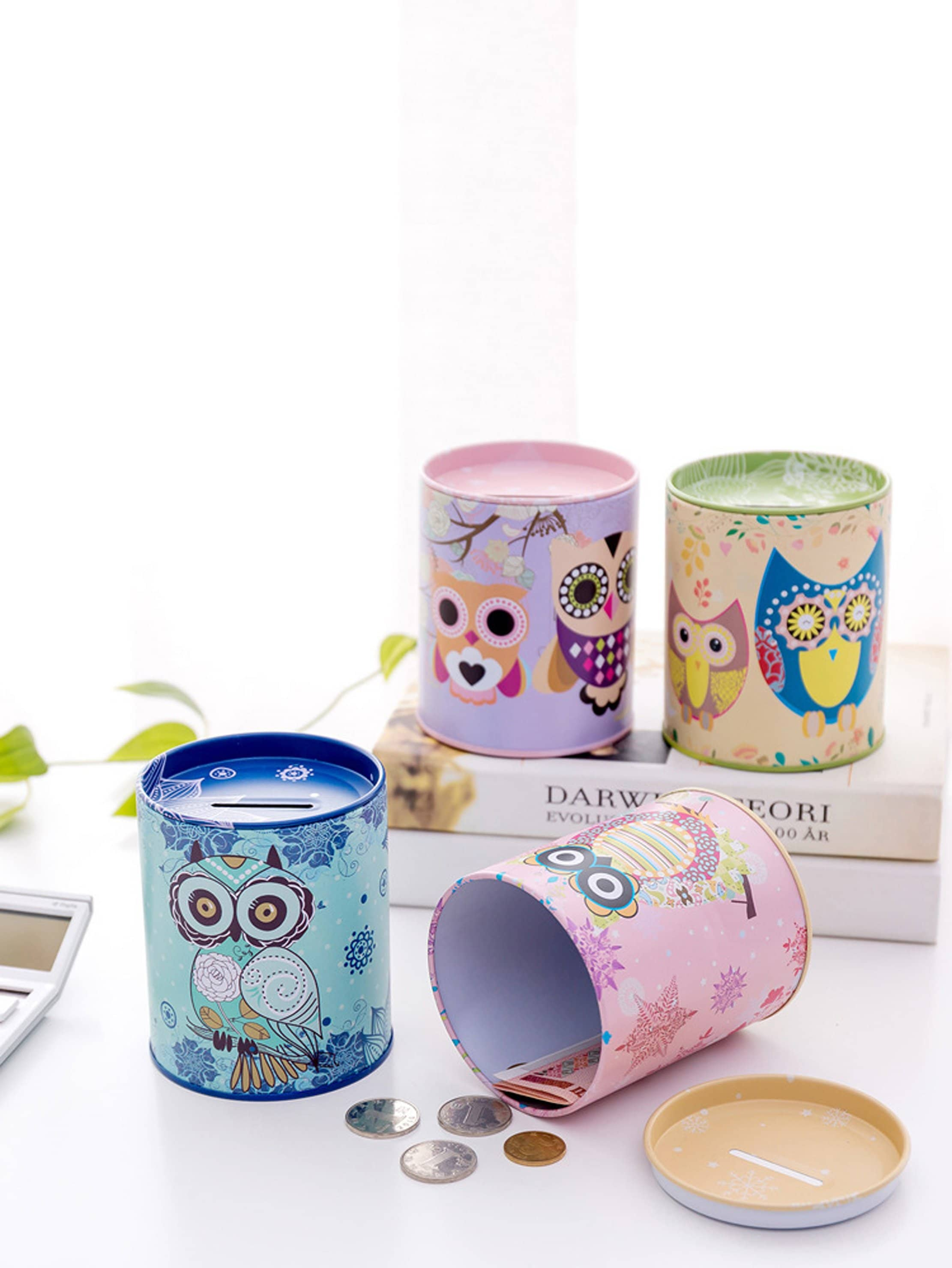 Random Color Owl Print Coin Can 1pc random tableware print kitchen mat 1pc