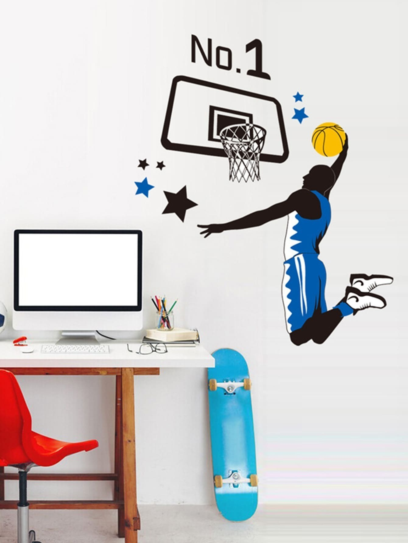 Basketball Player Dunk Wall Sticker high quality butterfly decor eiffel tower pattern removeable wall stickers