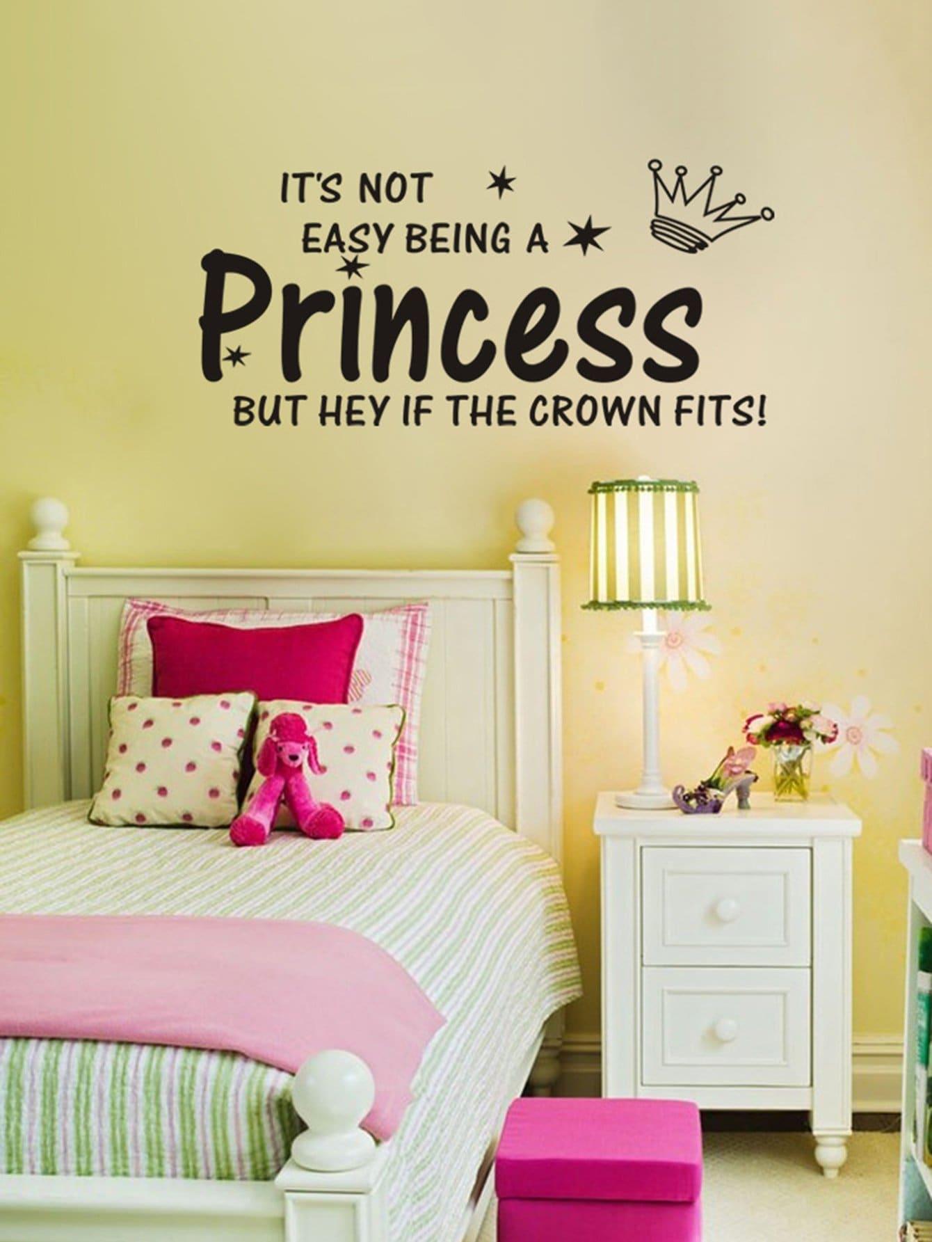 Купить Slogan & Crown Wall Sticker, null, SheIn