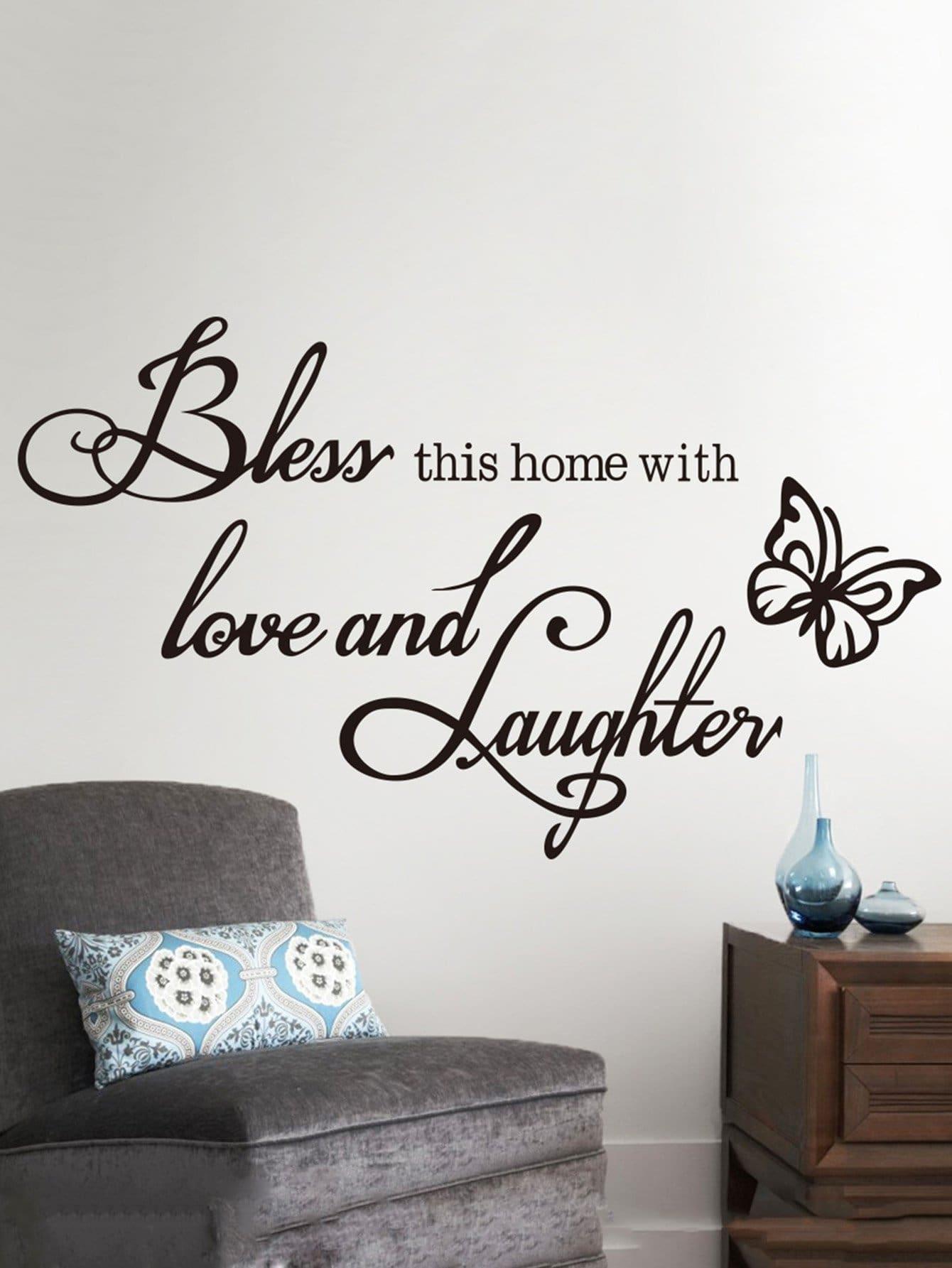 Купить Слоган и бабочка стикер стены, null, SheIn