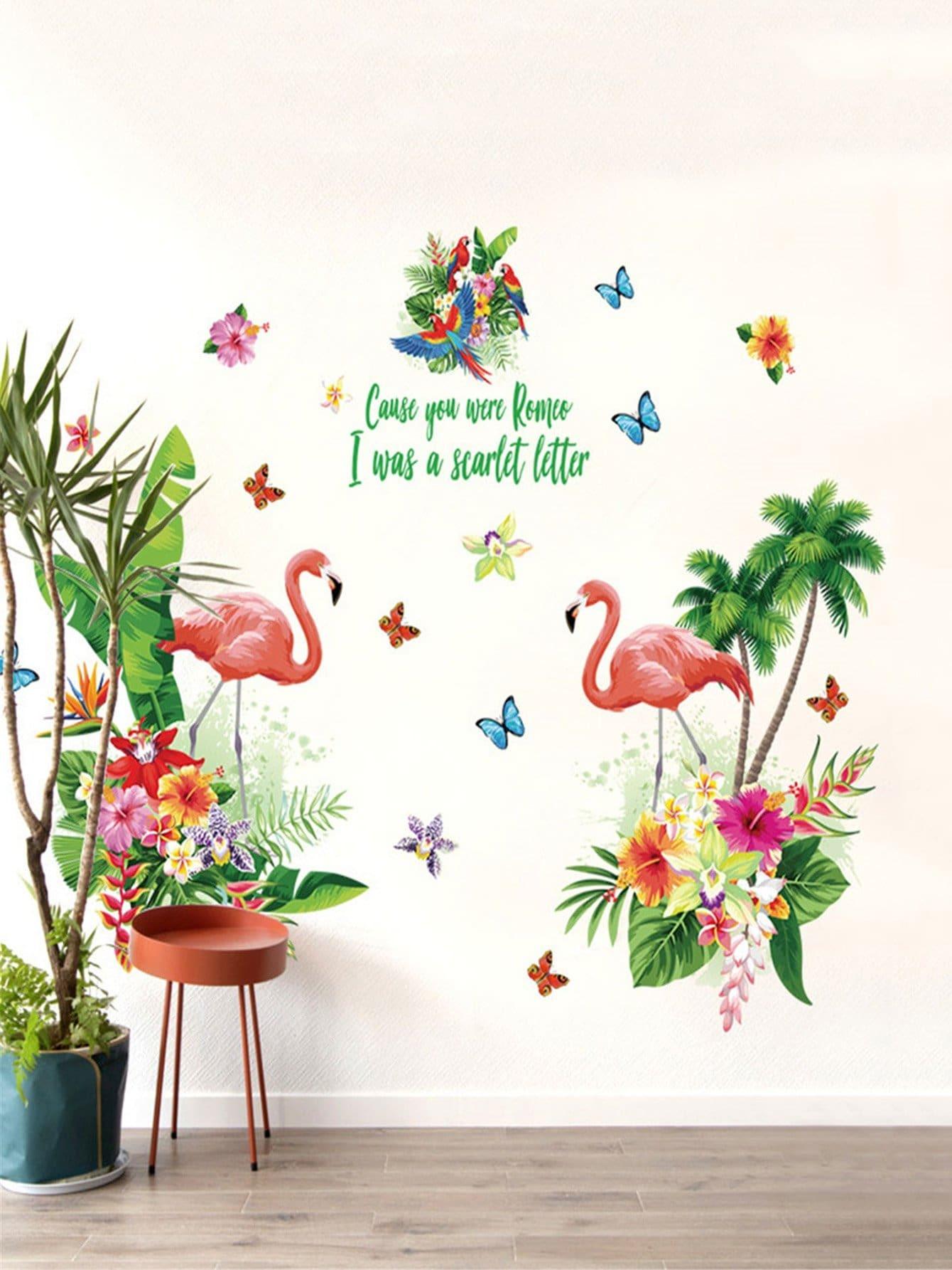 Купить Фламенко и цветочные стикер стены, null, SheIn