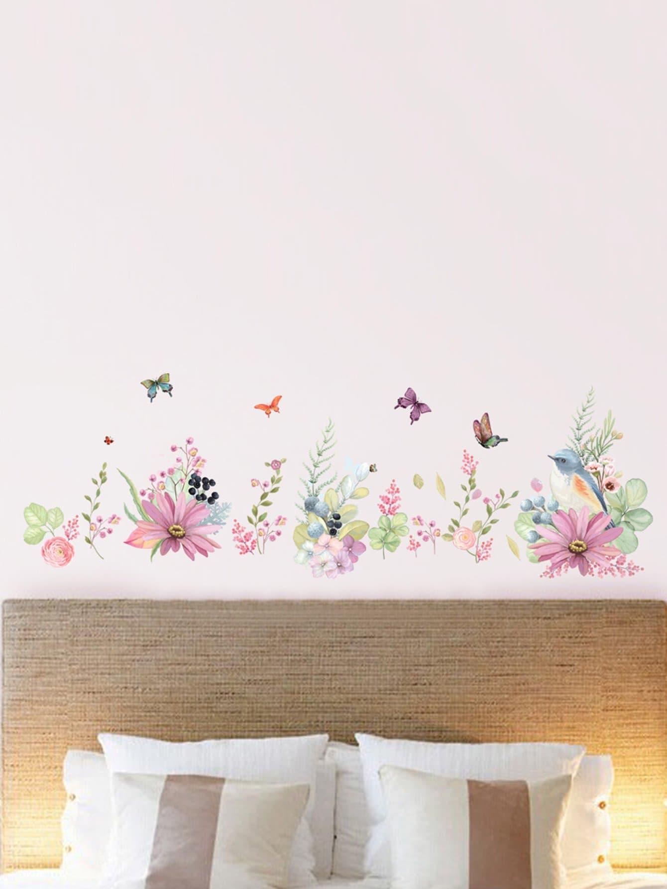Цветочный и птичий наклейки стены, null, SheIn  - купить со скидкой