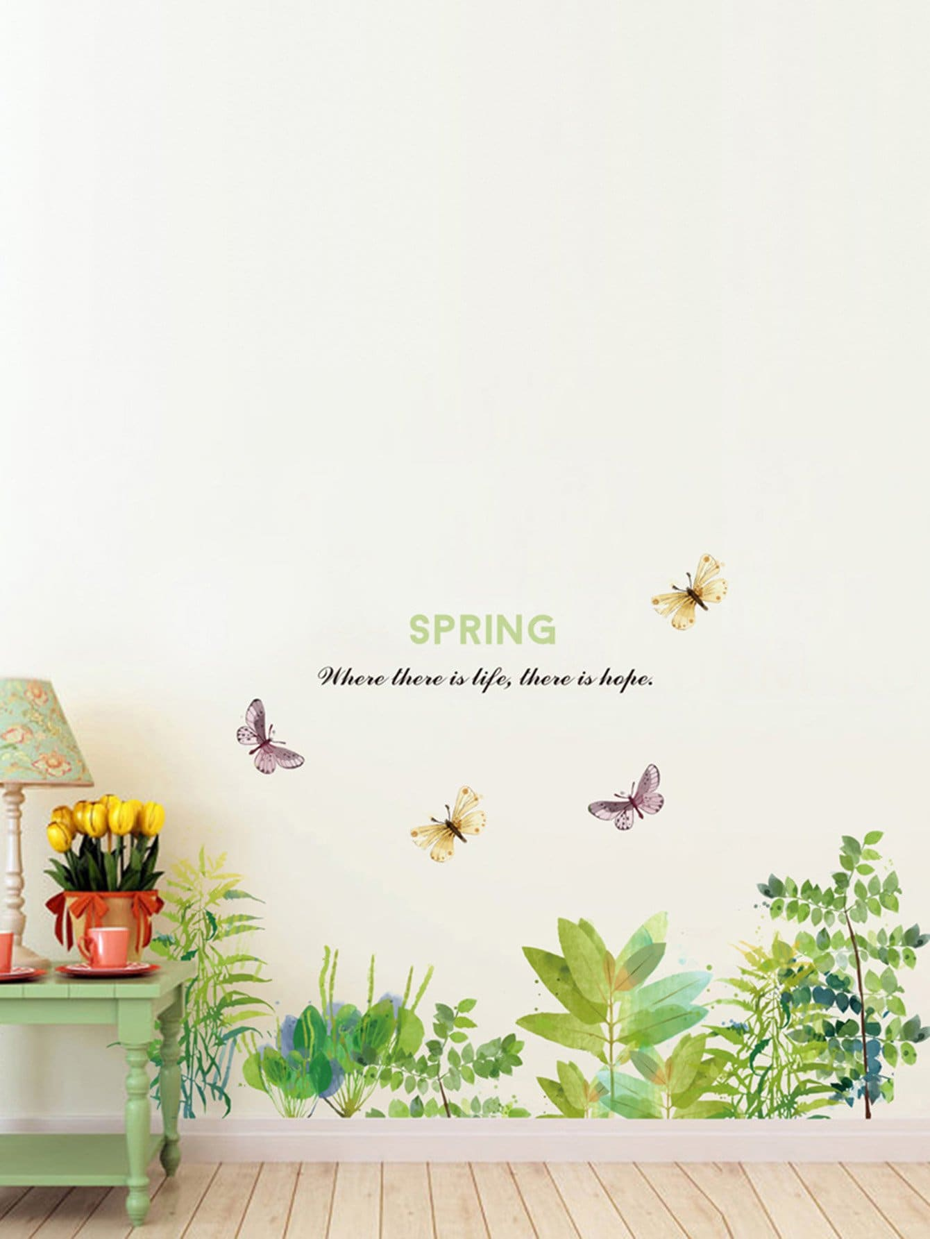 Leaves & Butterfly Wall Sticker tropical leaves wall sticker