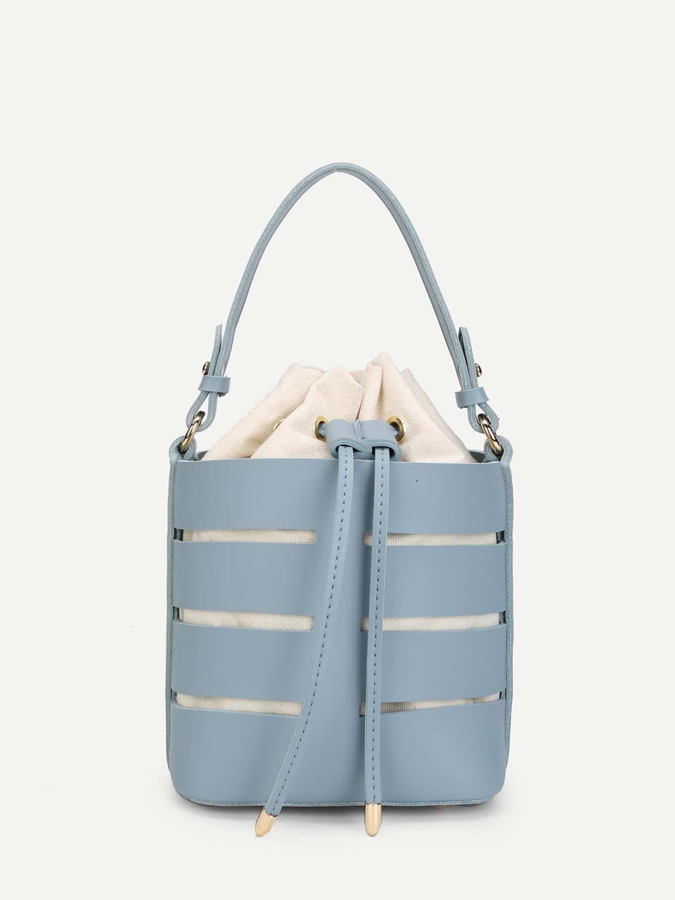 Drawstring Design Bucket Bag weave drawstring bucket bag