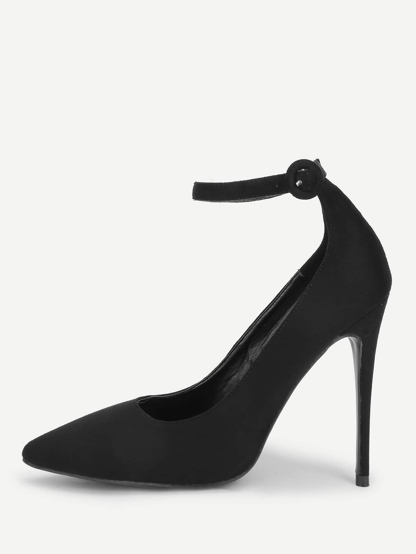 Pointed Toe Ankle Strap Stiletto Heels stiletto metallic ankle strap heels