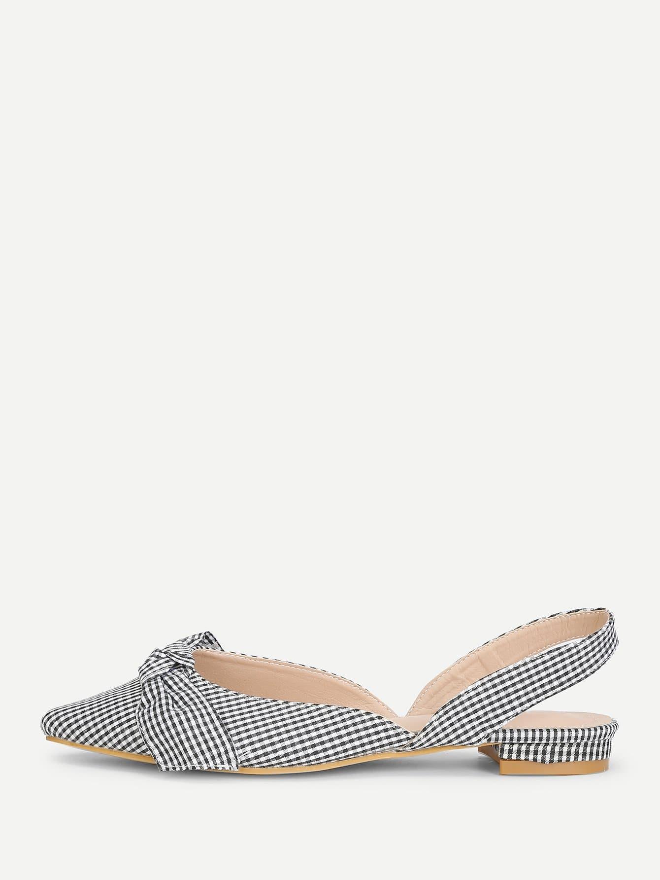 Gingham Print Pointed Toe Flats цена 2017