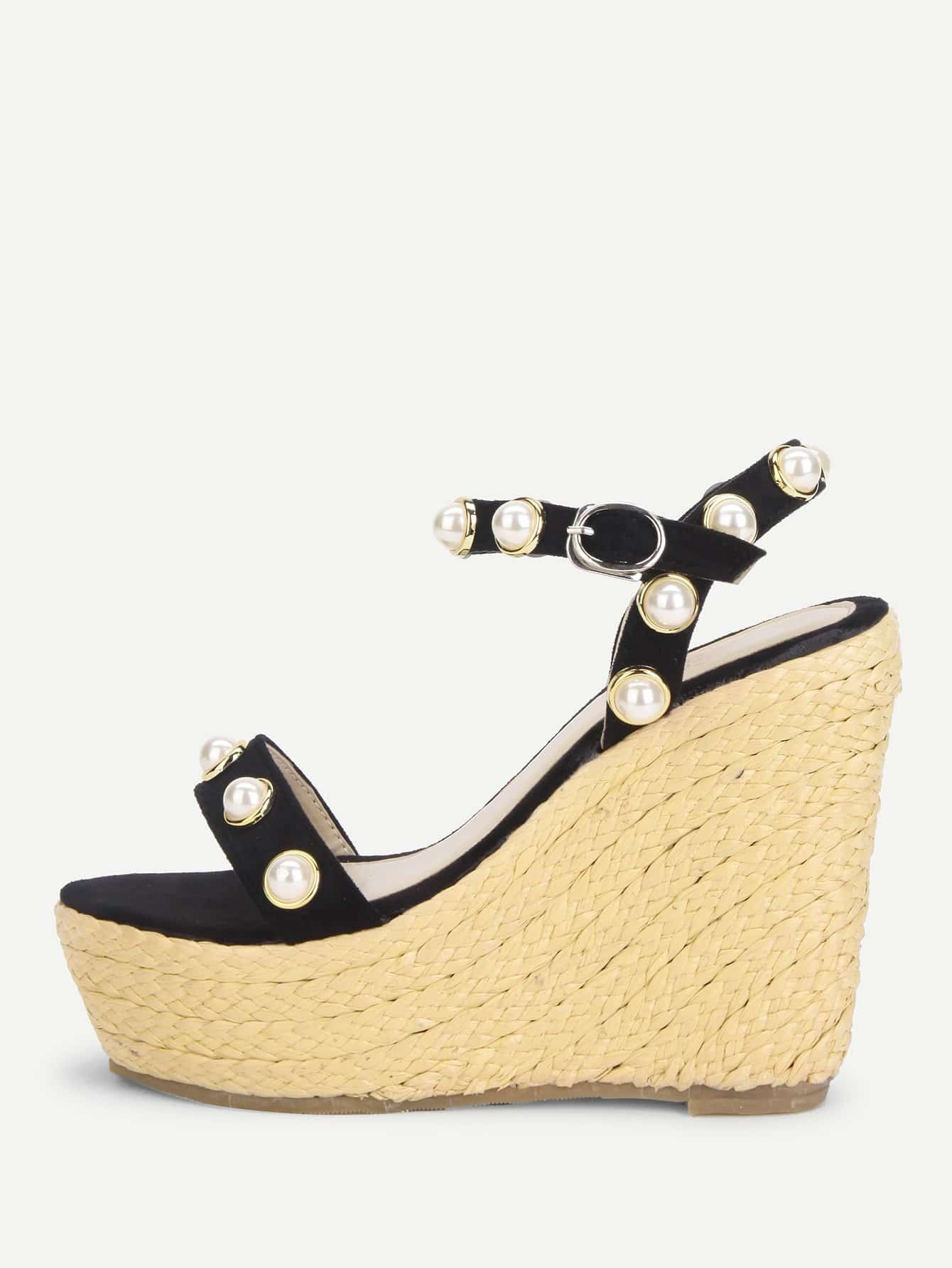 Faux Pearl Decorated Strappy Woven Wedges