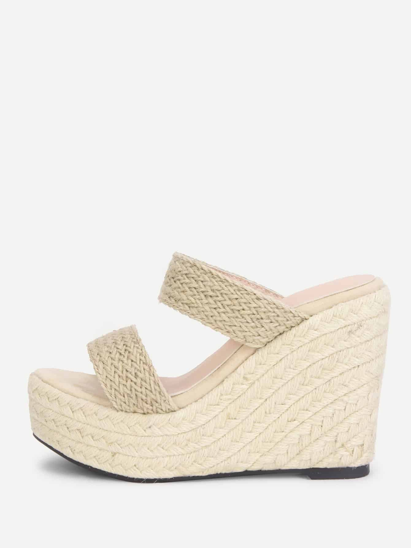 Woven Design Wedge Sandals woven design straw flat sandals