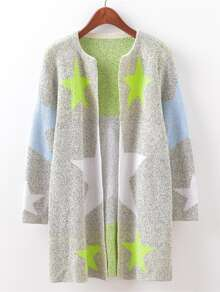Star Pattern Marled Knit Cardigan