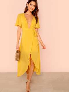 Trumpet Sleeve Knot Side Overlap Dress