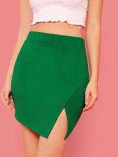 Split Front Solid Skirt