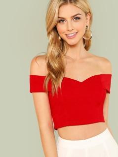 Fold Over Sweetheart Bardot Top