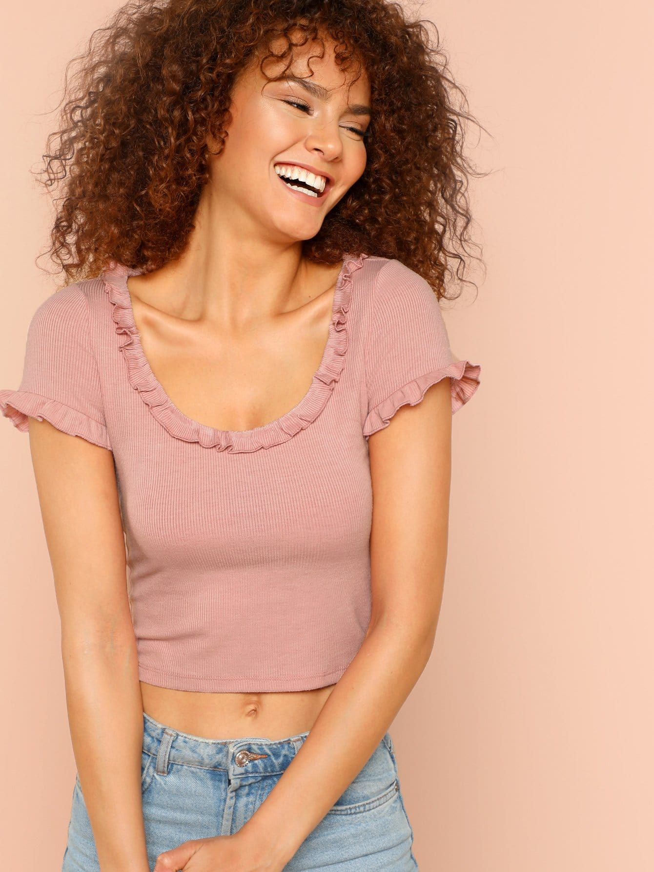 Frill Trim Ribbed Knit Crop Tee ruched neck frill sleeve ribbed tee