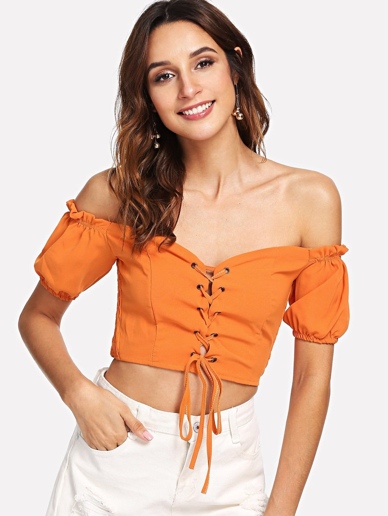 Knotted Hem Frill Trim Blouse contrast striped knotted hem frill blouse