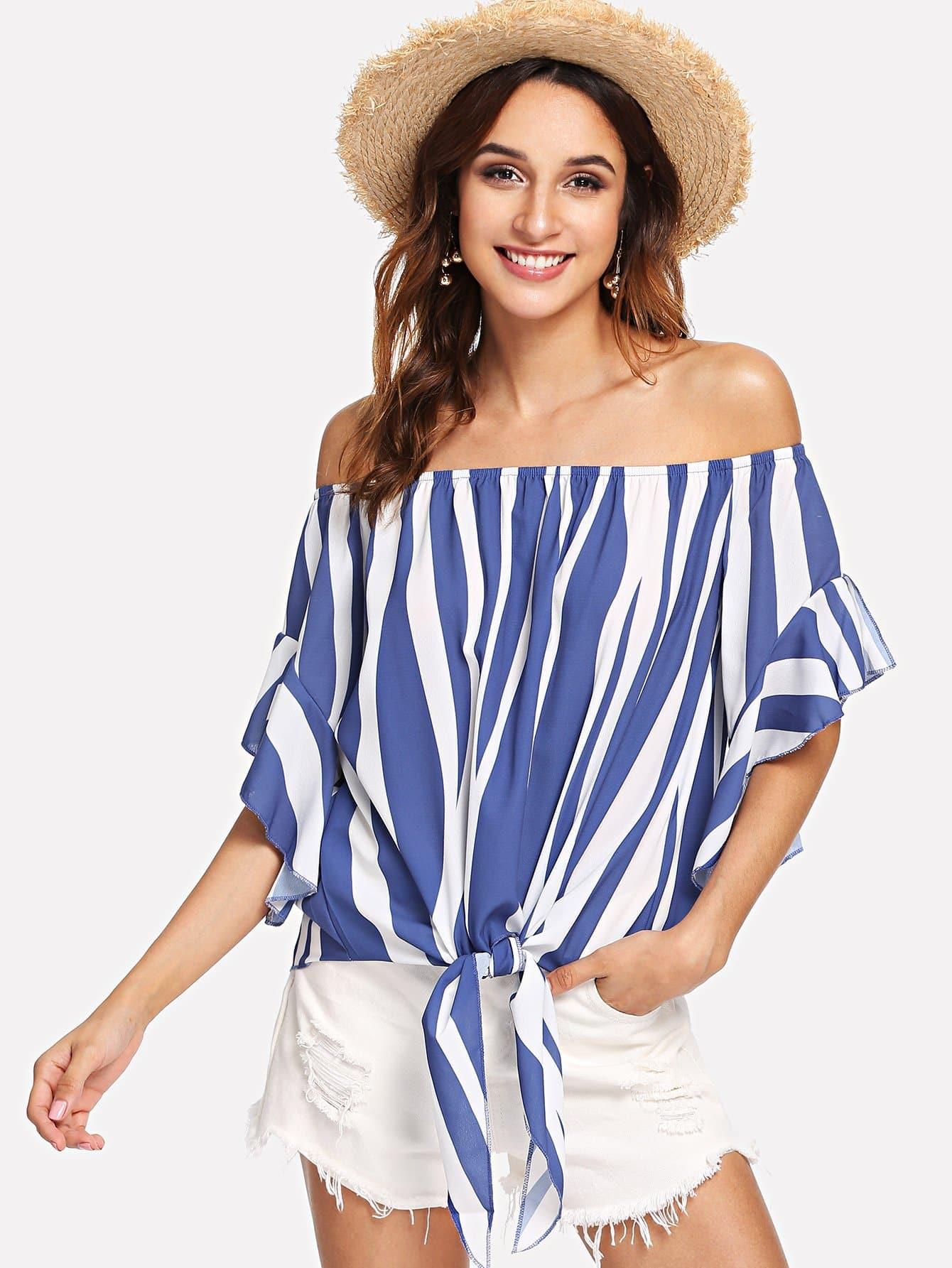 Купить Завязанная полосатая блузка, Gabi B, SheIn