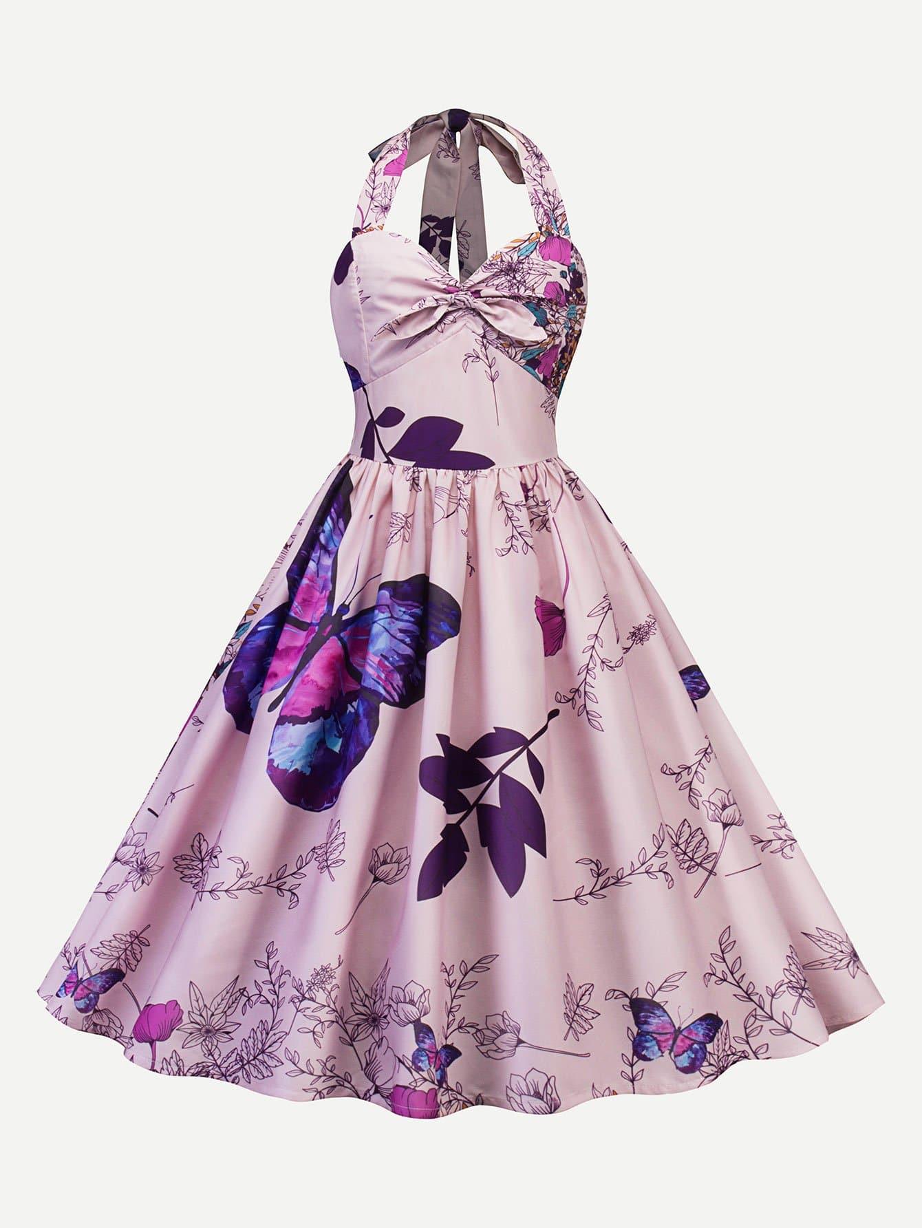 Butterfly Print Halter Circle Dress butterfly print halter tunic dress