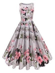 Floral Print Circle Dress