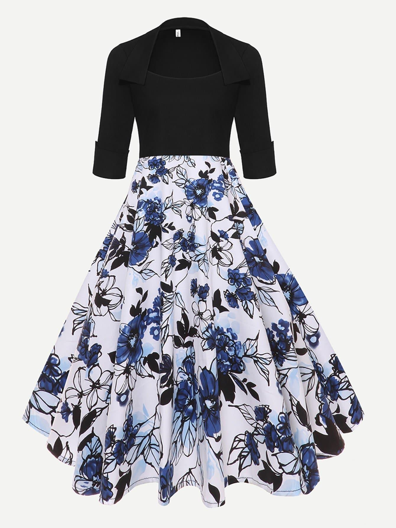 Купить Платье с кружевным вырезом из цветной печати, null, SheIn