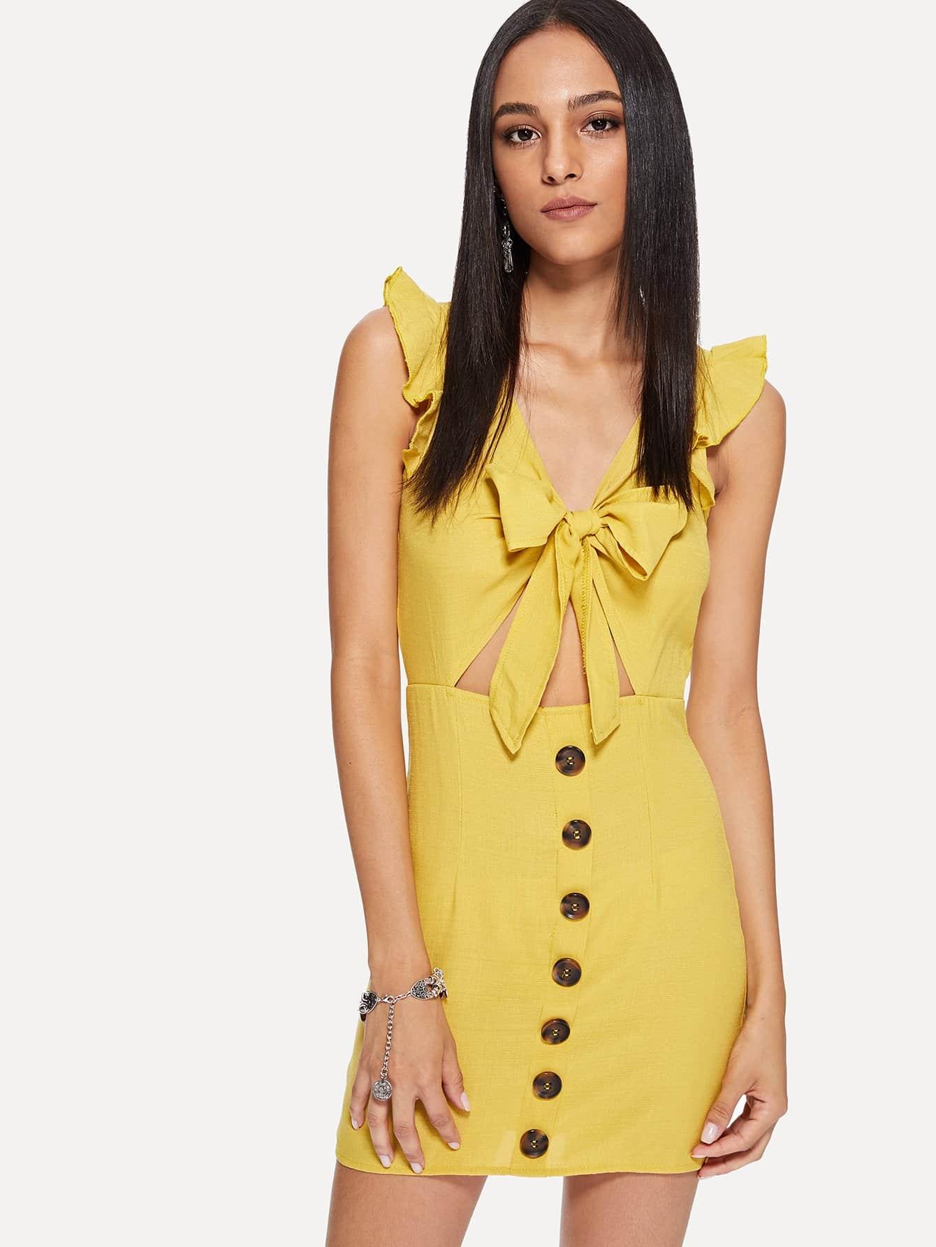 Button Detail Tie Front Cut Out Dress