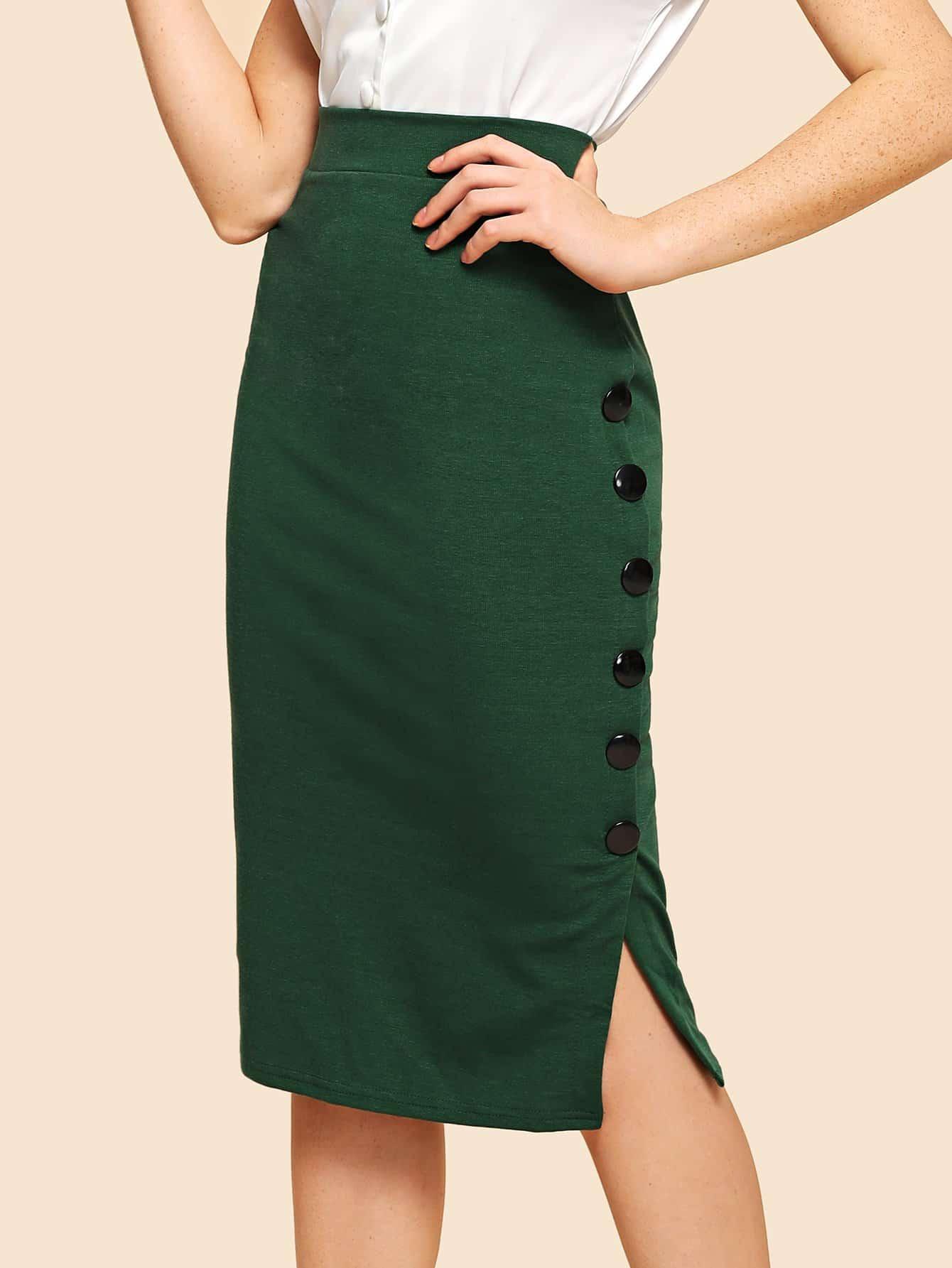 Купить Деталь кнопки Раздельная сплошная юбка, Nathane, SheIn