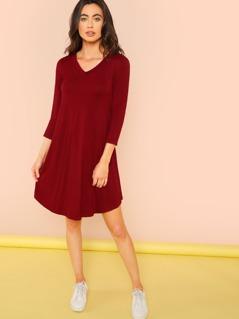 3/4 Sleeve Flowy Dress