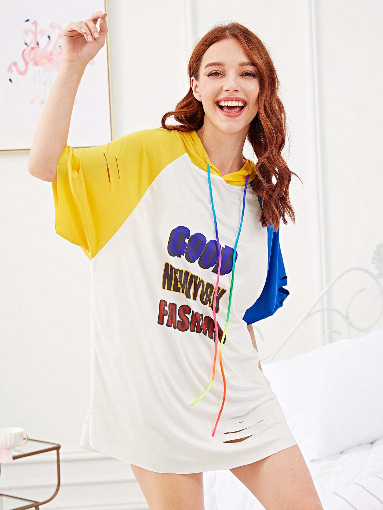 Letter Print Colorblock Hooded Dress letter print colorblock tee