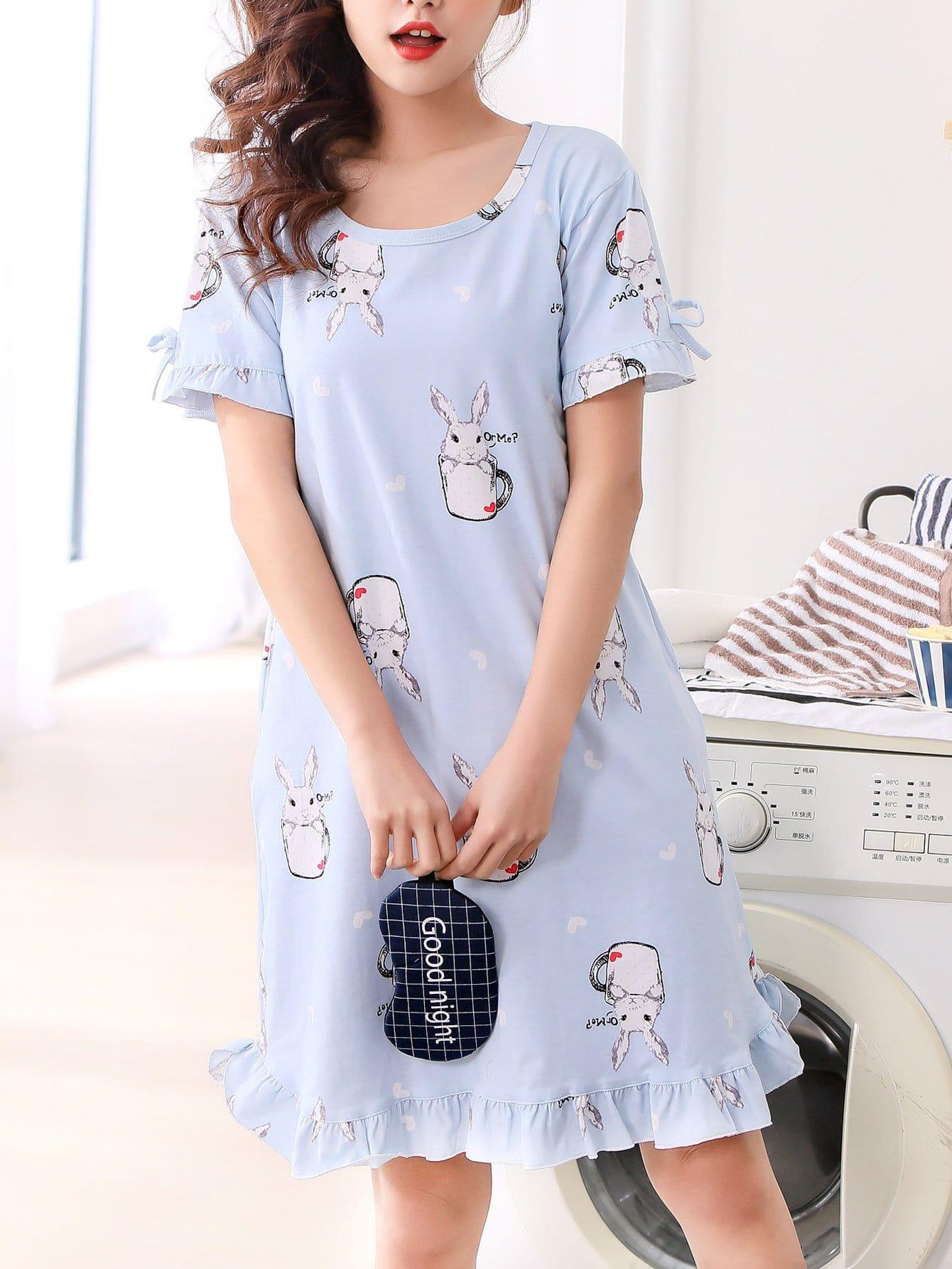 Купить Rabbit Print Ruffle Hem Night Dress, null, SheIn