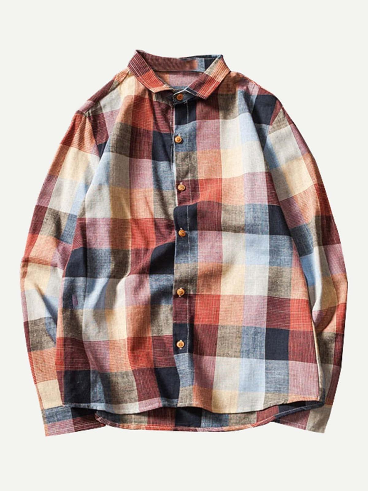 男人 蘇格蘭格紋 高低 襯衫