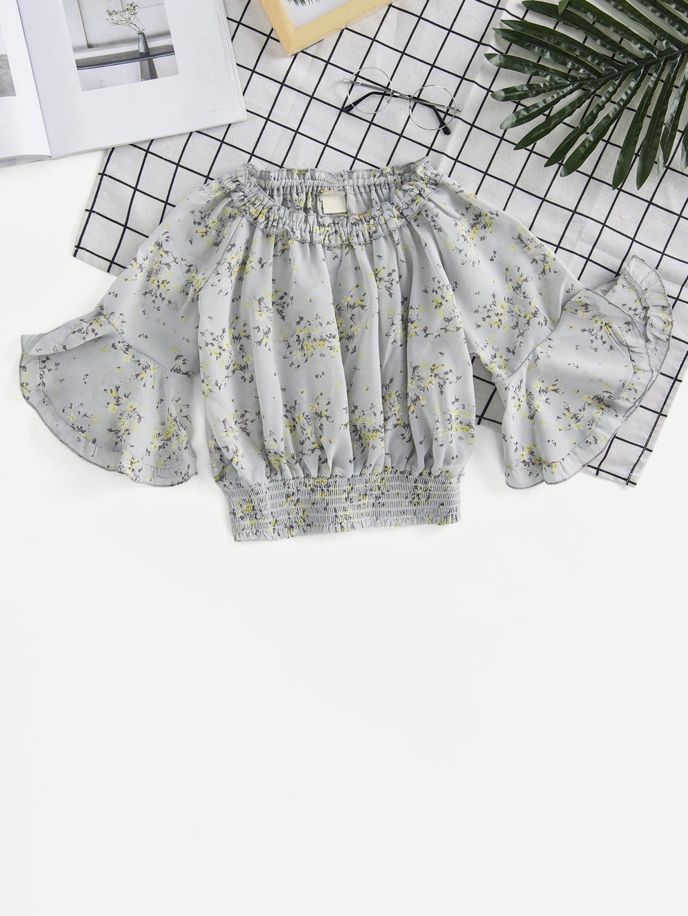 Girls Frill Calico Print Shirred Hem Blouse ladder lace panel calico print blouse