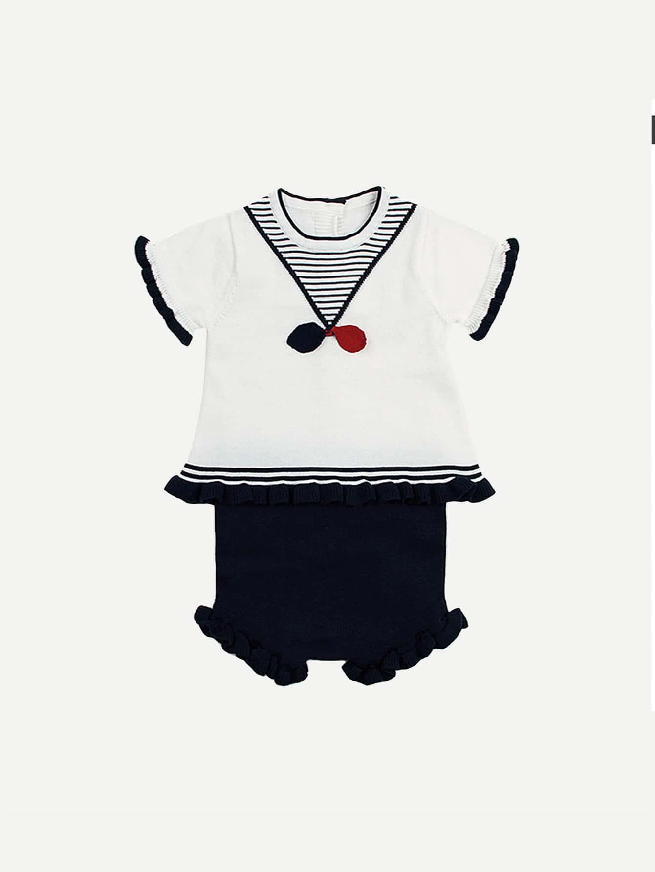 цена на Kids Button Back Frill Striped Blouse With Plain Shorts