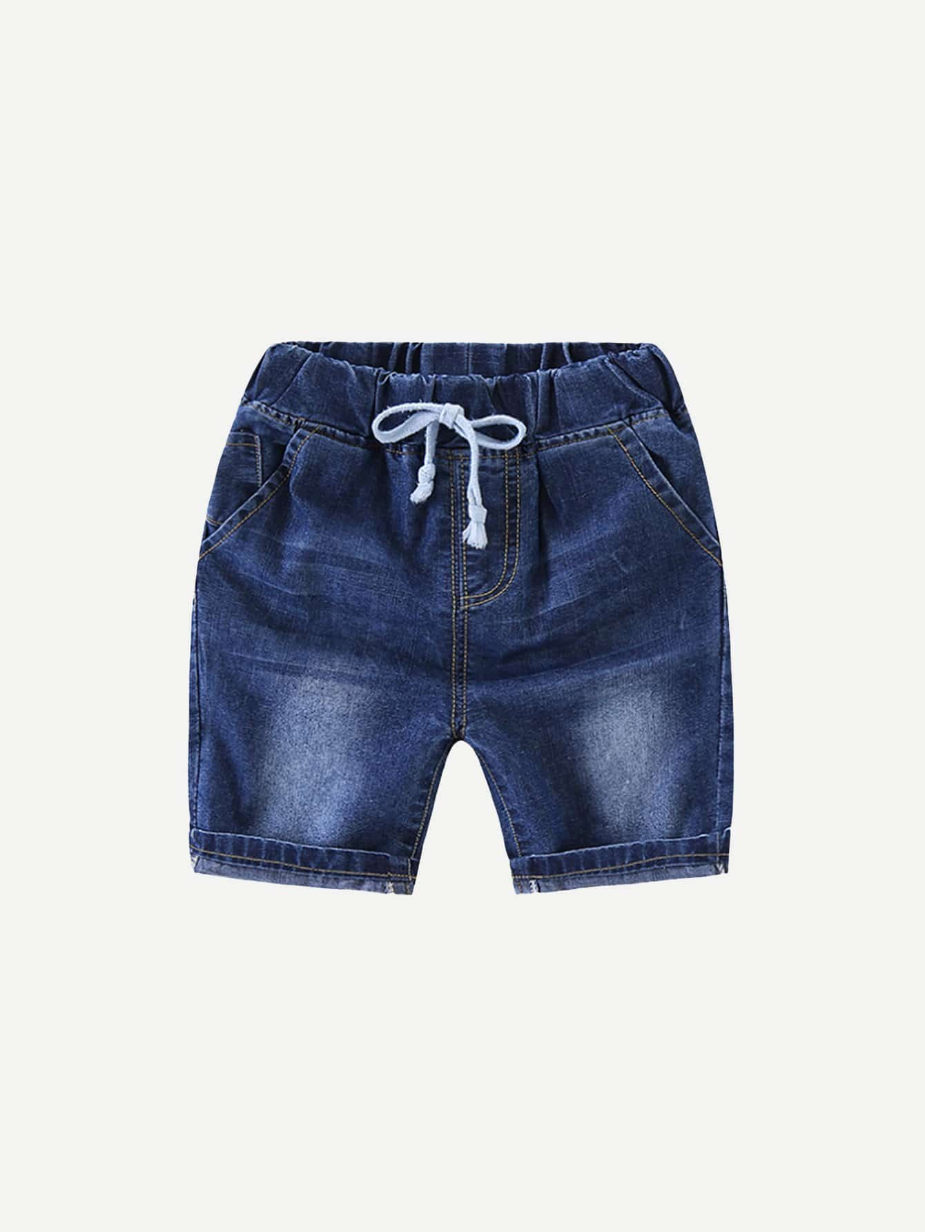 Boys Roll Hem Drawstring Denim Shorts цена 2017