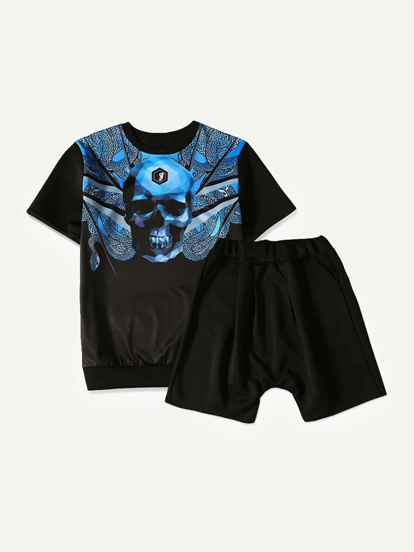 Men Skull Print Tee With Plain Shorts men drape detail plain tee