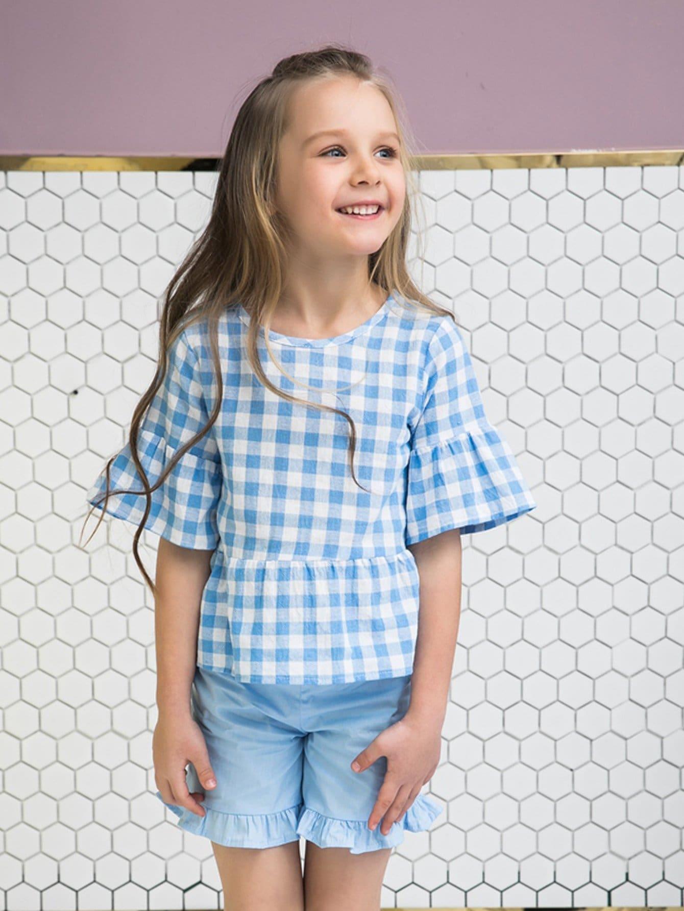 Kids Gingham Ruffle Hem Blouse With Plain Shorts kids plain denim blouse