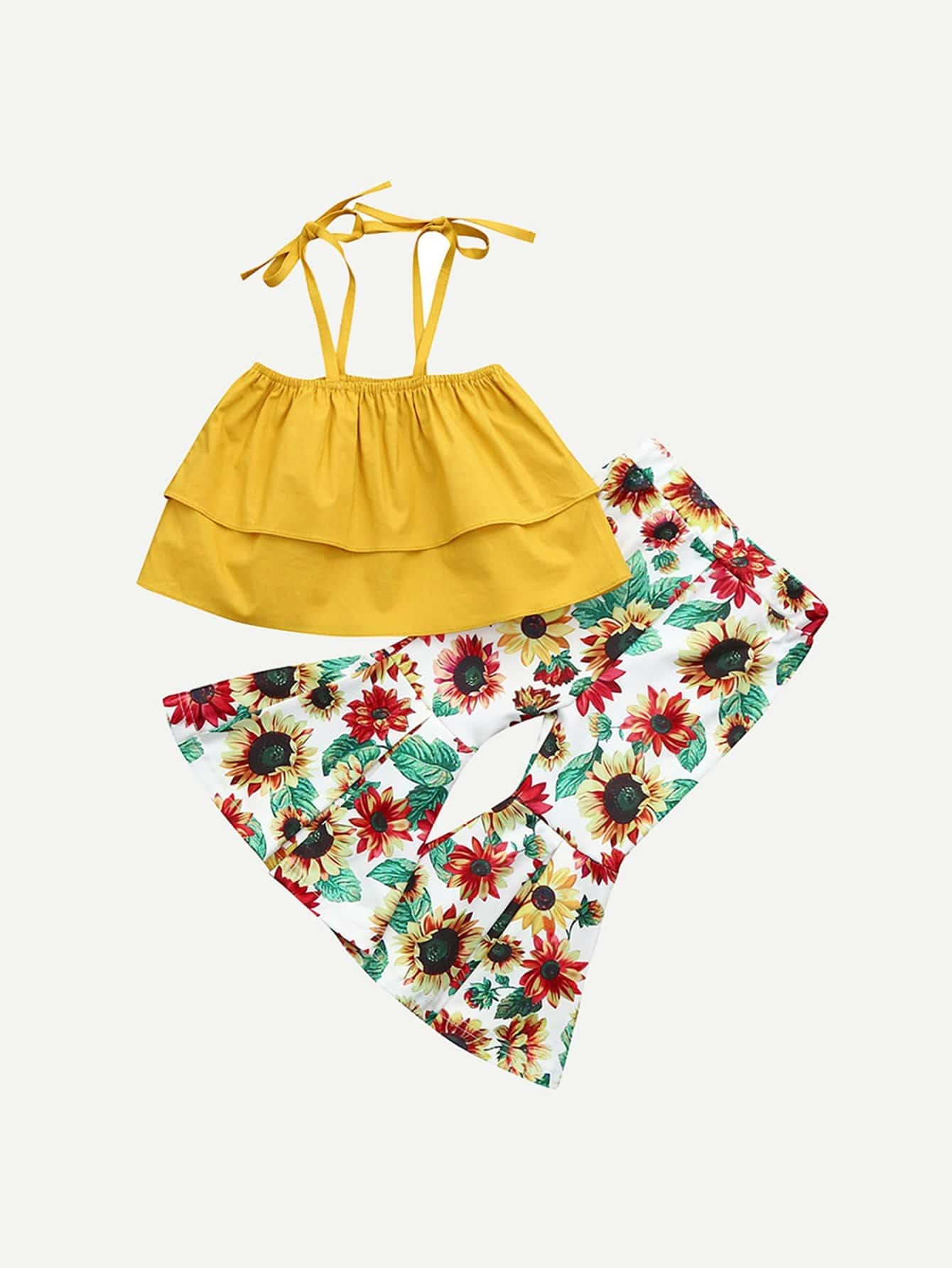 Girls Ruffle Trim Cami Top With Sunflower Print Flounce Pants