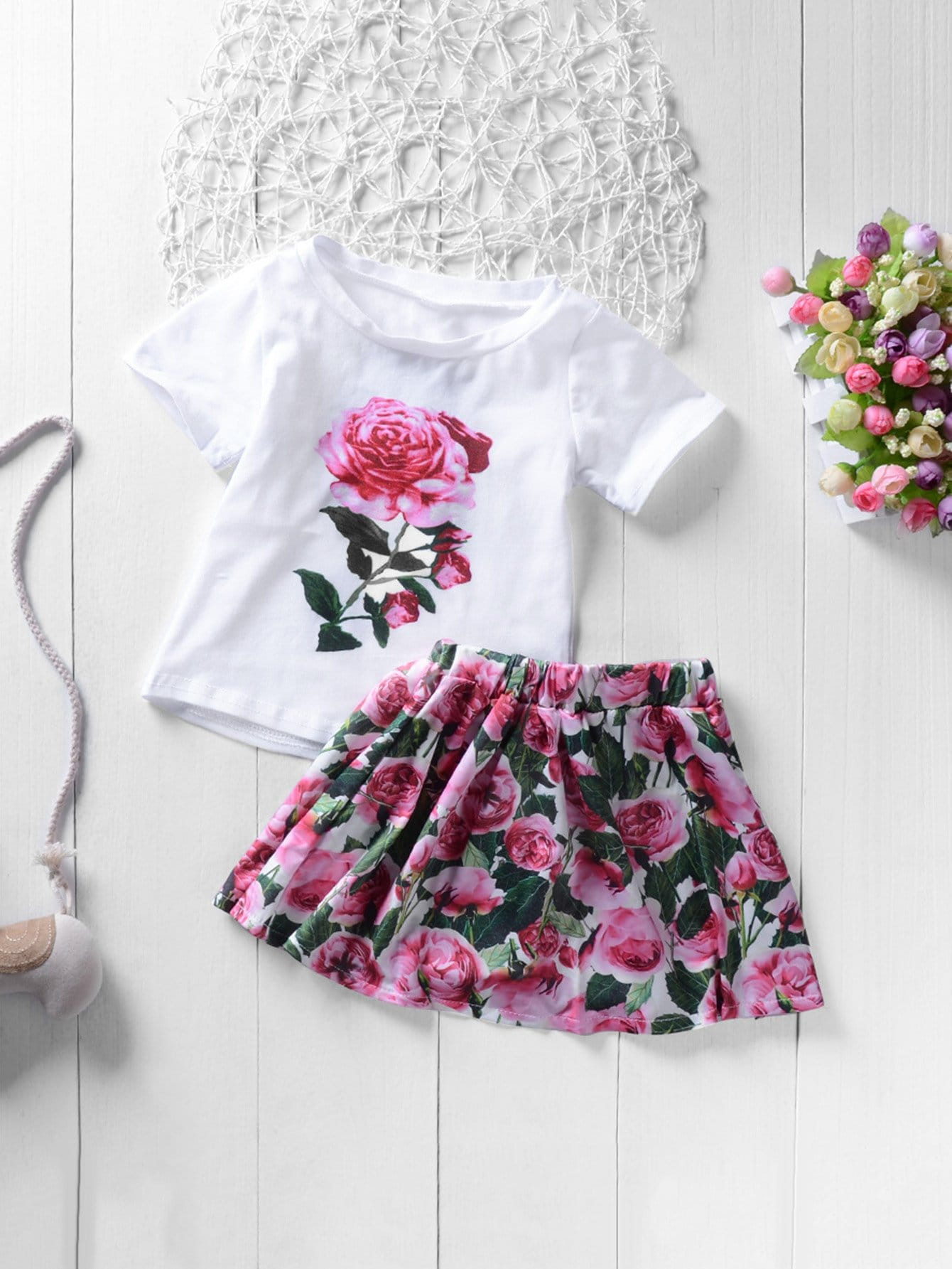 Girls Rose Print Tee With Skirt