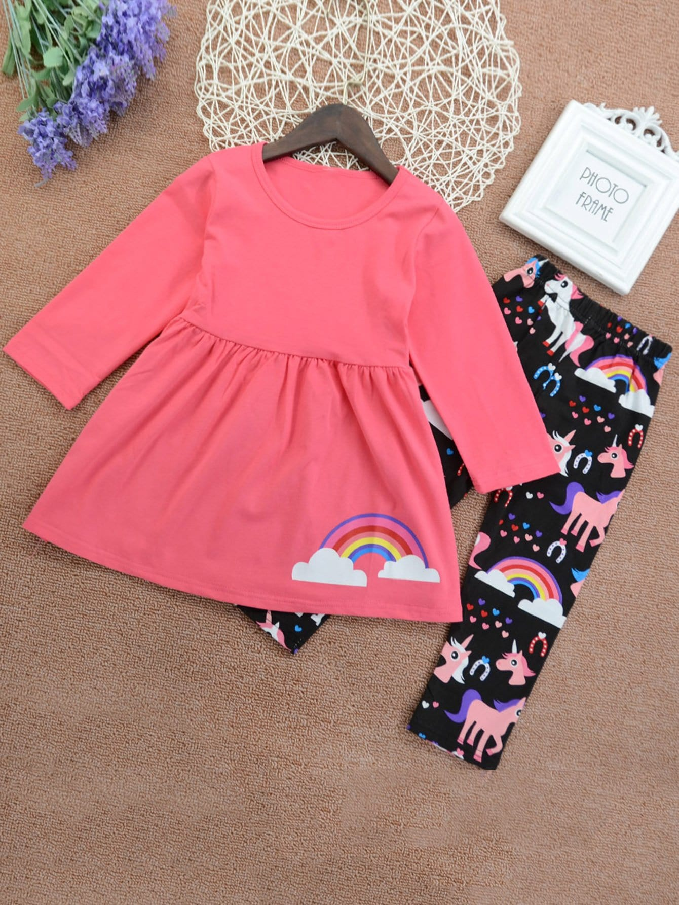 Girls Rainbow Print Tee With Cartoon Pants