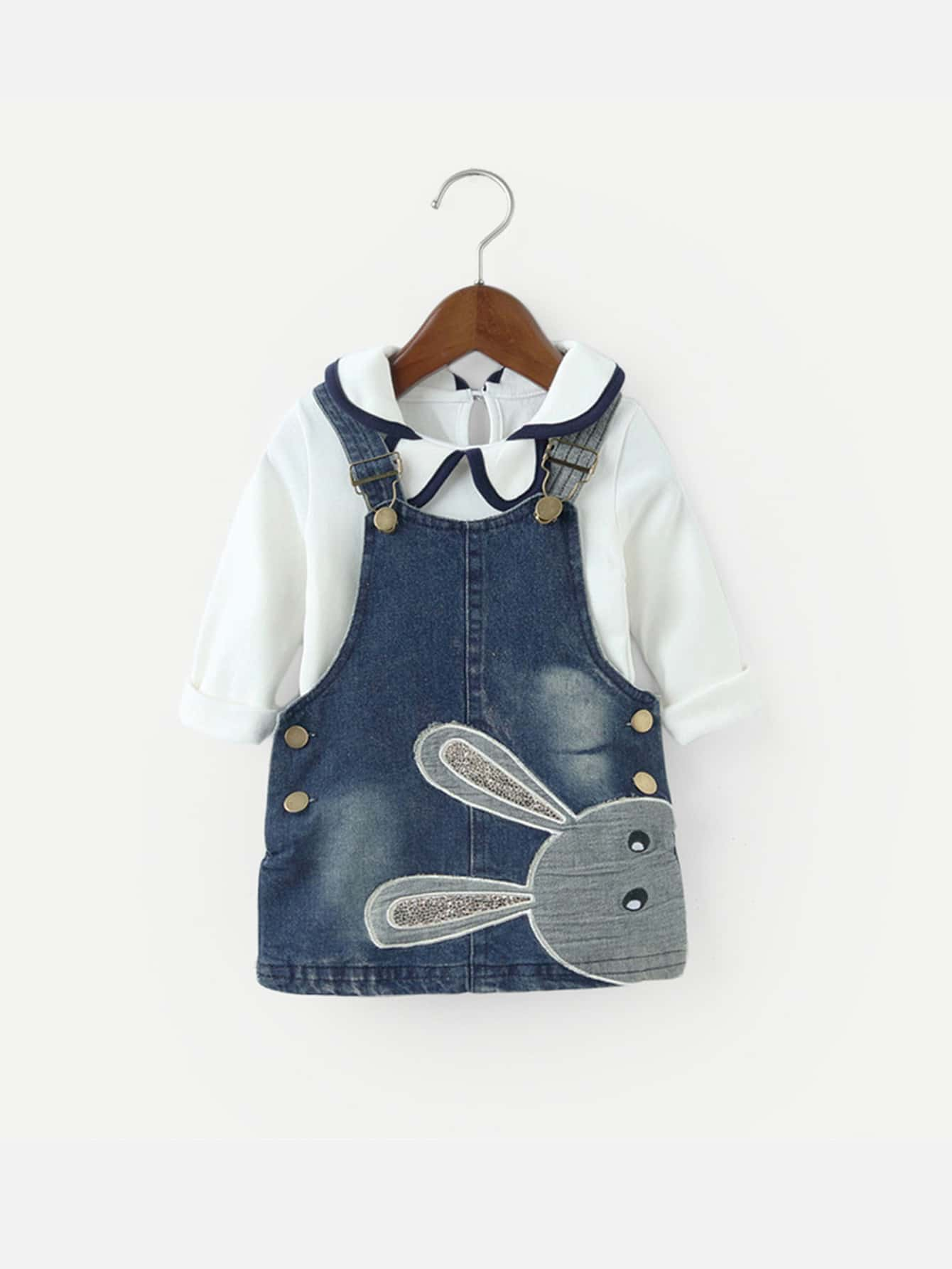 Kids Ringer Blouse With Cartoon Print Denim Overall Dress overall yumi overall