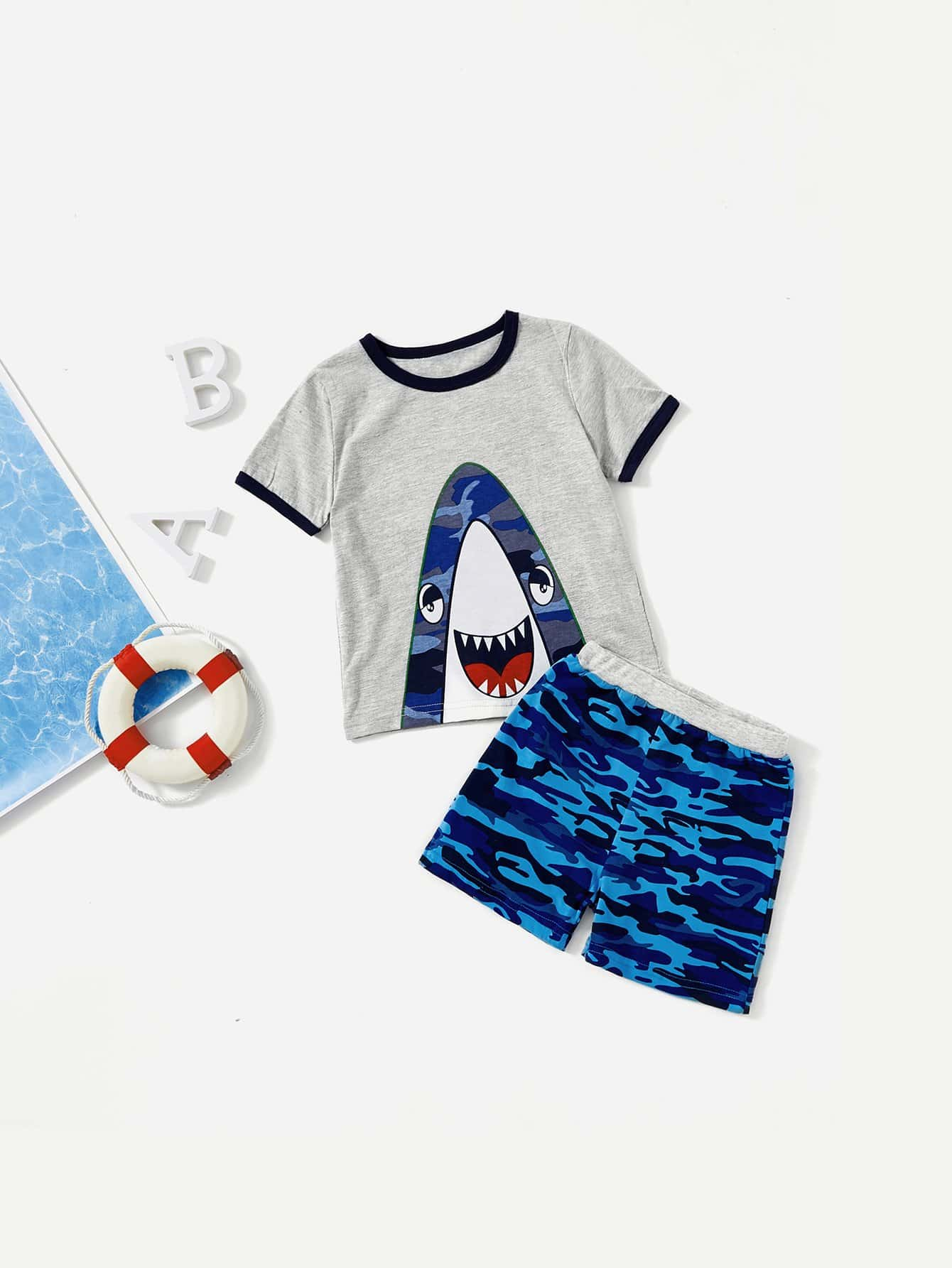 Kids Shark Print Ringer Tee With Camo Shorts kids graphic printed tee with shorts