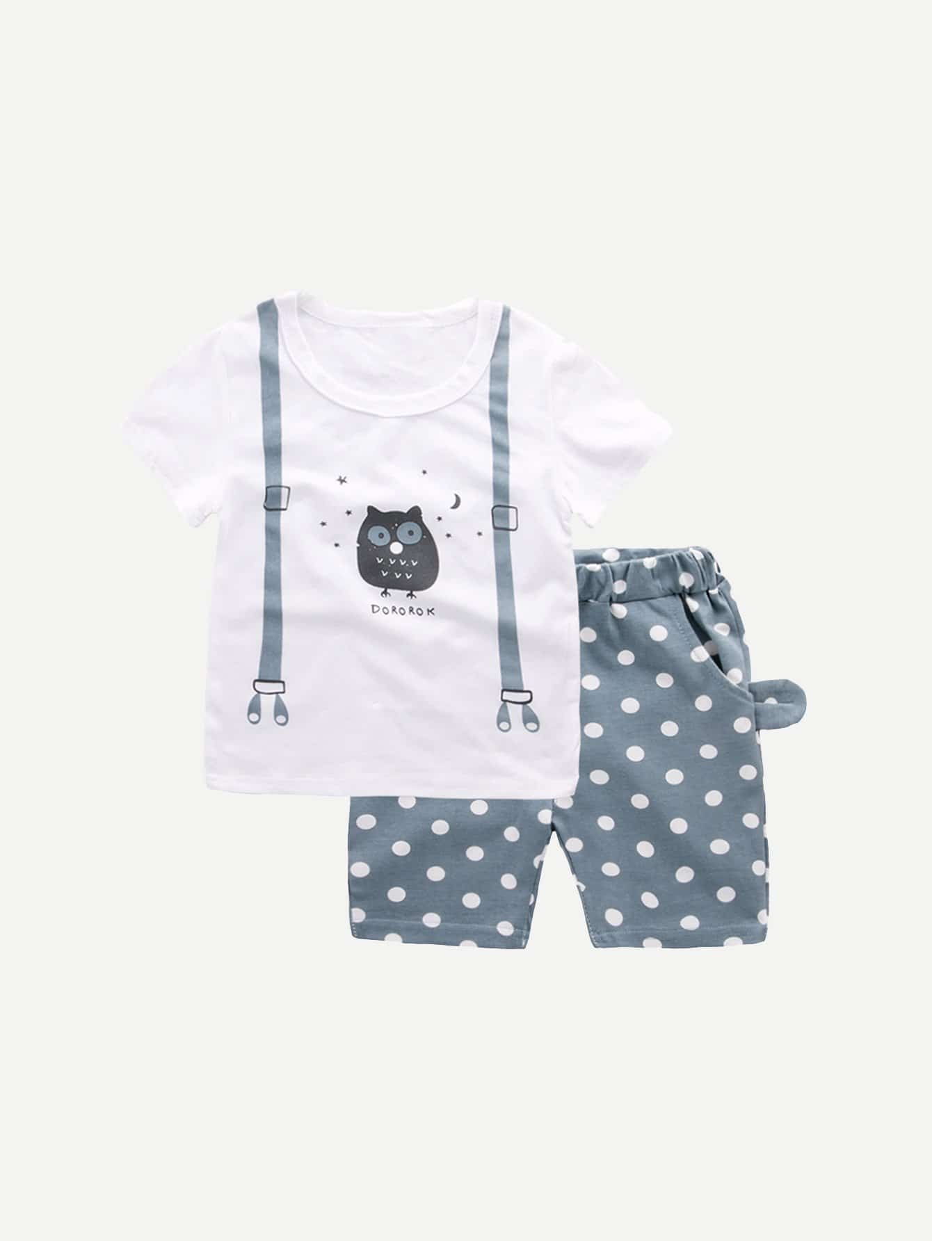 Boys Owl Print Tee With Polk Dot Shorts