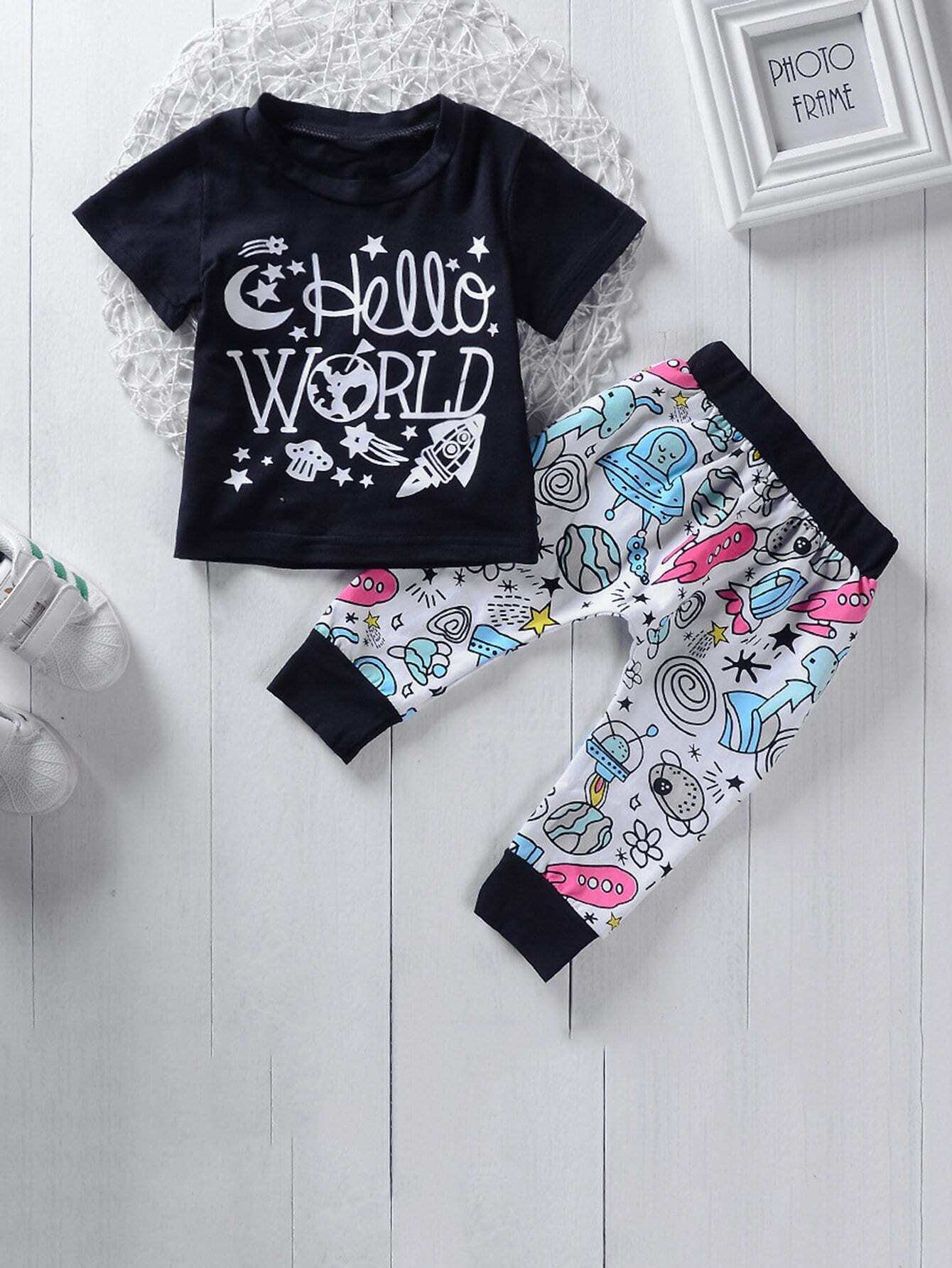 Boys Letter And Cartoon Print Tee With Pants цена 2017